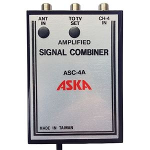 Channel 4 Signal Combiner Amplified 15 dB Video Modulator ASC-4A, CH-4 Adjustable Gain Satellite TV Dish Off-Air TV Antenna UHF / VHF Video Distribution, Part # ASKA ASC4A