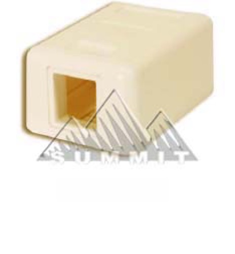 Summit RJ45 Surface Mount Box jack Ivory 1 Port Keystone 1 Cavity CAT5e Housing Jack Block ASM1IV Keystone QuickPort Biscuit Junction Modular Network Telephone Jack Data Outlet, Part # ASM1-IV