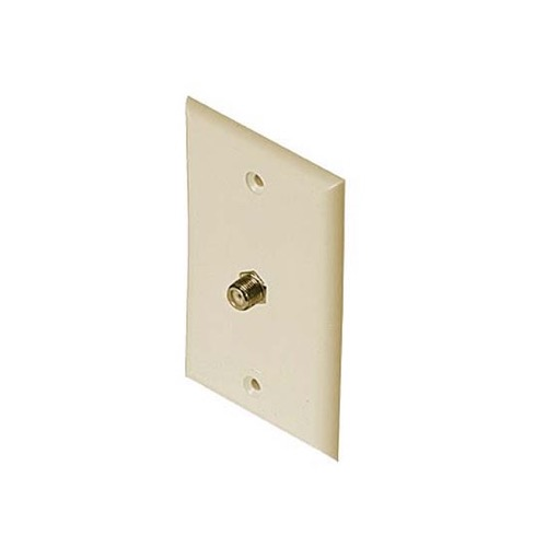 F-81 Wall Plate Ivory Gold Series Coax Cable Philips M61022 75 Ohm Jack TV Video Digital Antenna Satellite Signal Single Port Flush Mount Outlet Cover Plug, Part # M-61022