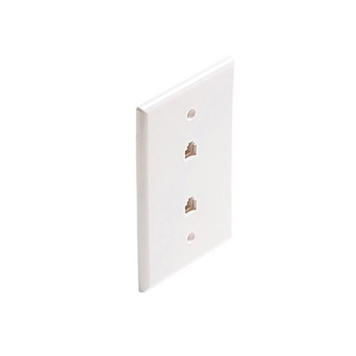 Steren 300-216WH Dual Phone Jack White Wall Plate 6P6C Double RJ12 Modular 6 Wire Conductor RJ-12 2 Port Decora Duplex Flush Mount Modular Double Data Line Twin Outlet Plug Jack Cover, Part # 300216-WH