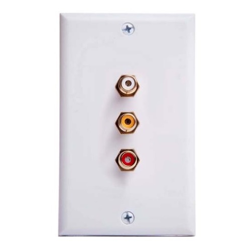 Summit Triple RCA Jack Wall Plate White Composite Audio Video Stereo Gold Speaker 3 Way AV Plug Connect Audio Video Signal Line Wire with Triple Plugs Hook-Up, Part # PH-62077
