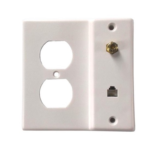 Philips PH61032 AC RG59 Coaxial Telephone Wall Plate White Jack F-81 RJ11 Outlet RG-59 Combo Modular Video Plate AC Outlet Coaxial Cable Telephone Line Jack Connection, Part # PH-61032