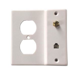 Vanco 3122330 Wall Plate Phone Electrical Coax White Combo Wall Outlet Plate Plug Coax Cable Telephone Modular Line Jack, Video Signal Connection, Part # 3122330