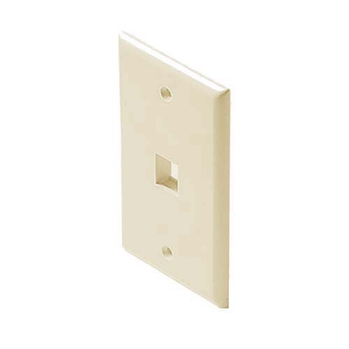 Eagle 1 Port Wall Plate QuickPort Keystone Almond Flush Mount, Easy Audio Video Data Junction Component Snap-In Insert Connection