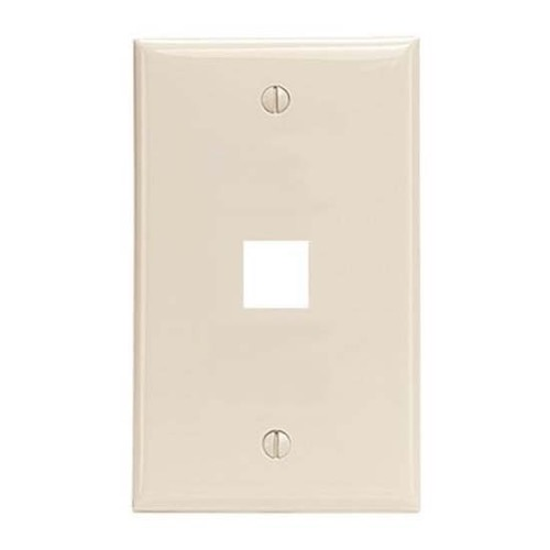 Steren 310-201LA Light Almond 1 Port Cavity Keystone Wall Plate Modular Multi Media Datacom QuickPort Flush Mount, Easy Audio Video Data Junction Component Snap-In Insert Connection, Part # 310201-LA