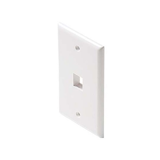 Summit Single Port Keystone Wall Plate White QuickPort Flush Mount, Easy Audio Video Data Junction Component Snap-In Steren Insert Connection