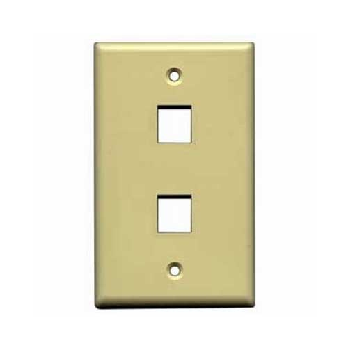 Eagle 2 Port QuickPort Wall Plate Ivory Keystone Flush Mount, Easy Audio Video Data Junction Component Snap-In Insert Connection
