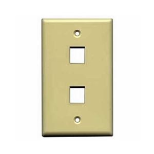 Steren 310-202IV 2 Port Keystone Wall Plate Ivory Two Cavity Insert QuickPort Flush Mount, Easy Audio Video Data Junction Component Snap-In Insert Connection, Part # 310202-IV