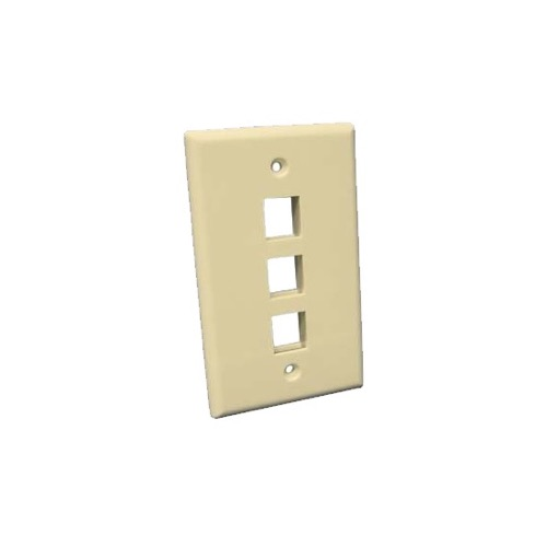 Steren 310-203IV 3 Cavity Keystone 3 Port Ivory Wall Plate QuickPort Flush Mount Easy Audio Video Data Junction Component Snap-In Insert Connection, Part # 310203-IV