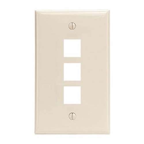 Steren 310-203LA 3 Port Keystone Wall Plate Light Almond Three Cavity Datacom Multi Media Ethernet Audio Video QuickPort Flush Mount Junction Component Snap-In Insert Connection, Part # 310203-LA
