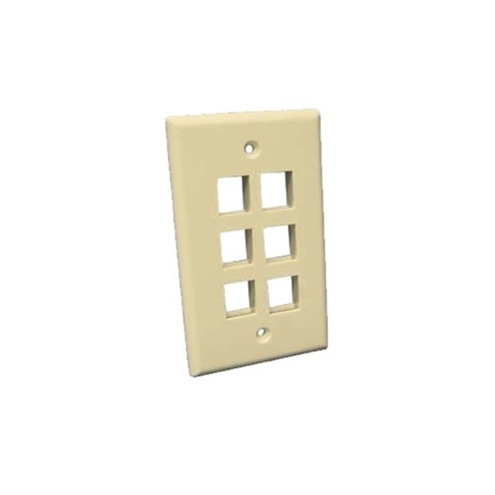 Eagle 6 Port Keystone Wall Plate Ivory QuickPort Channel Master Flush Mount, Audio Video Modular Telephone Data Plug Connection