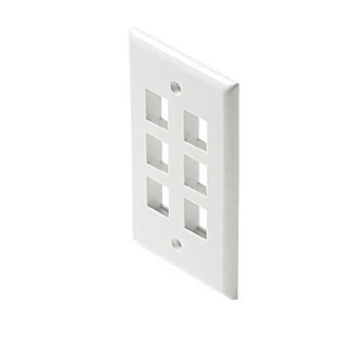 Channel Master 6 Cavity Port Keystone Wall Plate White QuickPort Flush Mount, Audio Video Modular Telephone Data Plug Connection, Part # AKFP6W