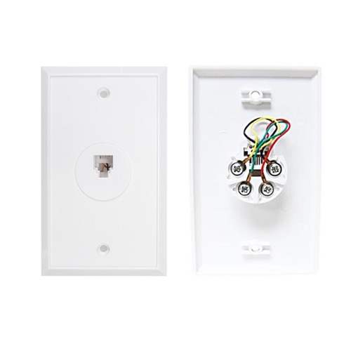Steren 301-004WH 4C Jack Telephone White Modular Textured Finish Wall Plate Phone Jack 6P4C RJ11 RJ-11 Conductor 1 Pack Modular Flush Mount Audio Data Line Signal, Part # 301004-WH