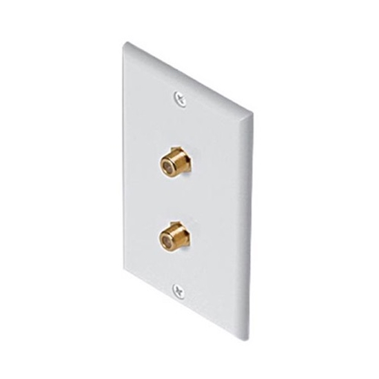 Steren 200-255WH Dual F Connector Wall Plate White Gold F81 Video Twin Coaxial Cable Video Connection Duplex TV Antenna Signal Flush Mount with 75 Ohm Barrel Plug Jacks, Part # 200255-WH