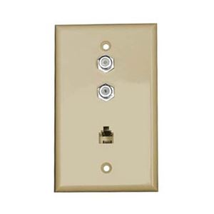 Perfect Dual F-81 Coax Wall Plate Phone Ivory RJ11 Connector 3 GHz Combo Modular Jack Aspen Telephone, TV Antenna Video Coaxial Cable Connectors, Part # CWP-501