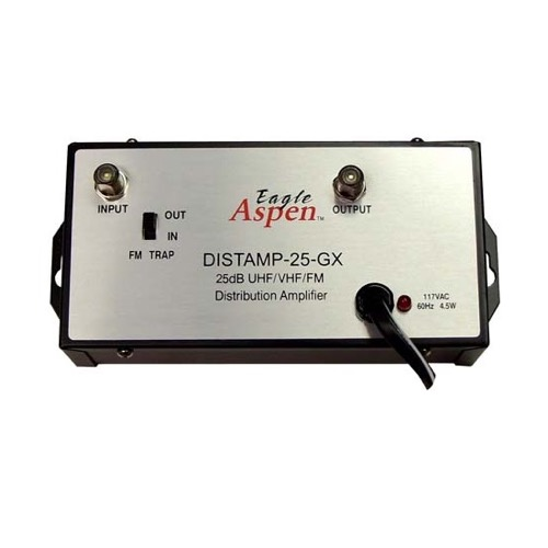 Summit 24 dB Signal Distribution Amplifier UHF/VHF/FM Booster Distribution Amplifier with Switchable FM Trap High Output Antenna Aerial Single Output Audio Video Broad Band
