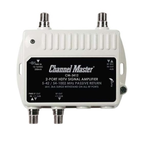 Channel Master CM-3412 2 Port Ultra Mini Distribution Amplifier Indoor Outdoor TV Signal 12 dB Gain Multi-Media Drop Amp RF Booster Amp Multimedia 5-42 / 54-1002 MHz Passive Return