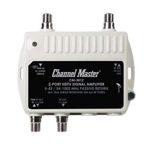 PCT-MA2-M Distribution Amplifier 2-Way 2 Port Output 11 dB Ultra Mini Two Way Distribution Amp VHF UHF Drop Amplifier Signal Mini Distribution Multi-Media CM3412 TV RF Output