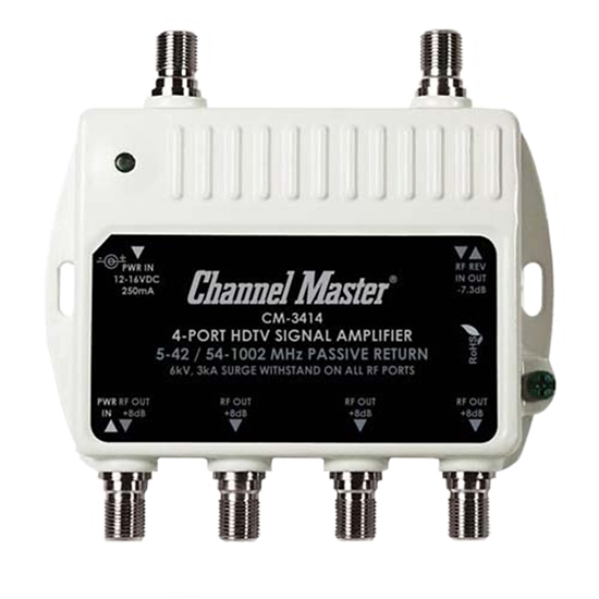 Channel Master 3414 Mini Distribution Drop Amplifier 8 dB UHF/VHF CM3414 TV RF Signal Output Booster Amp Multimedia Passive Return, Part # PCT-MA2-4P - Open Box Item