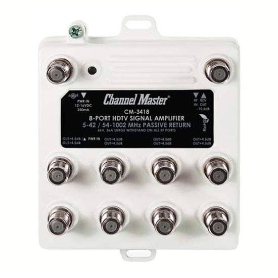 PCT PCTMA28P 8-Way Pass Return Drop Amplifier with Power Inserter and Cable Signal Distribution Amplifier TV RF Output Booster Amp Multimedia 8 Port Drop Bi Directional Digital Multi-Media 5-42 / 54-1002 MHz Passive Return