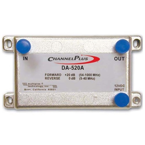 Channel Plus DA-520A Bi-Directional 20 dB RF Amplifier FRWD / ODB Reverse Cable Coaxial Signal 54 MHz - 1 GHz Forward Bandwidth for CATV, Part # DA520-A