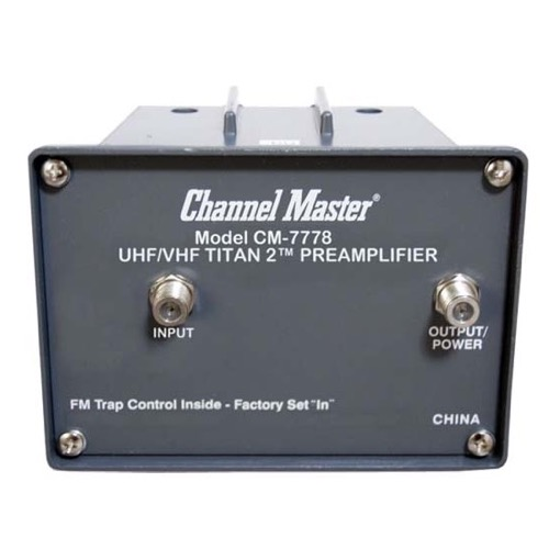 Channel Master CM 7778 UHF VHF Pre-Amplifier Titan 2 with Power Supply CM7778 16 dB TV Antenna Signal Booster Mast Mounted Off-Air Outdoor New and Improved, 75 Ohm, Part # CM-7778