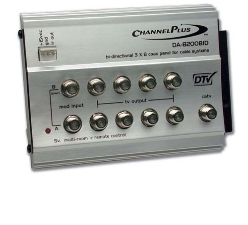 Channel Plus DA-8200BID Bi-Directional RF Distribution Amplifier 8-Way Output 1 GHz Signal 3 dB Gain with 5 Volt IR DA8200BID Video Hub Module 5 - 42 MHz Return Path for DTV / CATV Rack Mountable, Part # DA8200-BID
