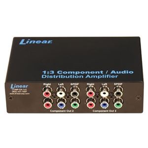 Linear COMP-DA-1X3 Component Audio Distribution Amplifier One to 3-Way Display Distributes One HD 1.3 Component Video Source with Audio to Three TV Locations, 1 Input to 3 Output, Part # COMPDA1X3