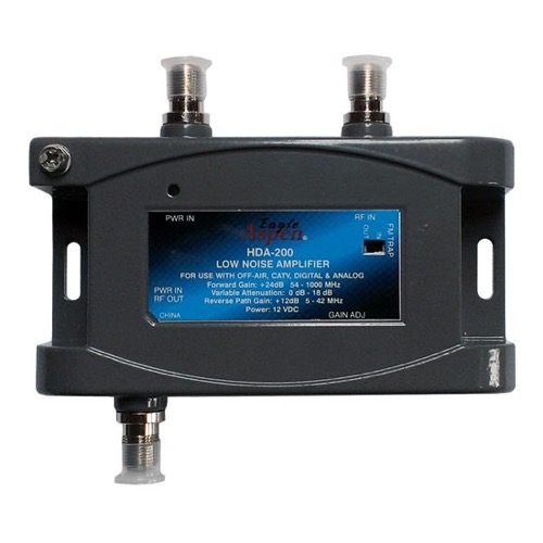 Eagle Aspen HDA-200 24 dB Digital Distribution Amplifier HDTV CATV Off-Air Bi-Directional Signal Low Noise RF Amp Analog with Adjustable Gain 54-1000 MHz Forward and 12 dB 5-42 MHz Reverse, 1GHz, Part # HDA200