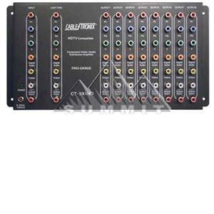 CableTronix CT-9X1HD 1 x 9 Component HDTV Digital Video Audio Distribution Amplifier Splitter 1x9 Output Component Signal 1 In 9 Out with Power Supply, 1 Input / 9 Output, Part # CT9X1HD