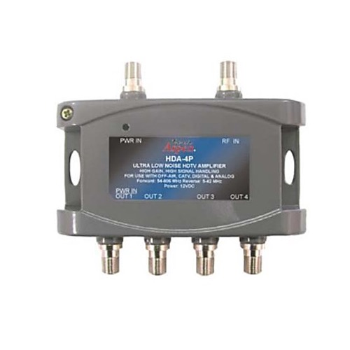 Pro Brand HDA-4P HDTV Distribution Amplifier 24 dB with 4 Outputs Ultra Low Noise Digital Distribution Amplifier CATV Off-Air Bi-Directional Signal RF Amp Analog 54-806 MHz Forward and 5-42 MHz Reverse, Part # HDA4P
