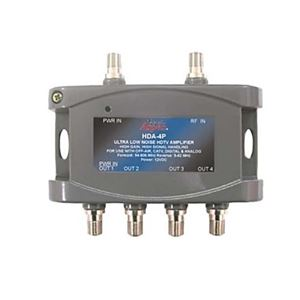24 dB HDTV Distribution Amplifier 4-Output Bi-Directional Signal 4-Way Port CATV Eagle Aspen HDA-4P Ultra Low Noise Off-Air Digital RF Amp Analog 54-806 MHz Forward and 5-42 MHz Reverse, Part # HDA4P