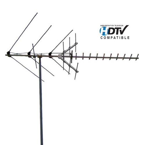 Channel Master 2018 Digital Advantage HDTV Antenna Mid-Range Outdoor Rooftop UHF VHF FM Mid-Range Outdoor Rooftop Antenna Terrestrial HD 24 Element TV Off-Air Signal RED ZONE 50 FT RG6 Coax With Gold F Connectors, Part # 2018