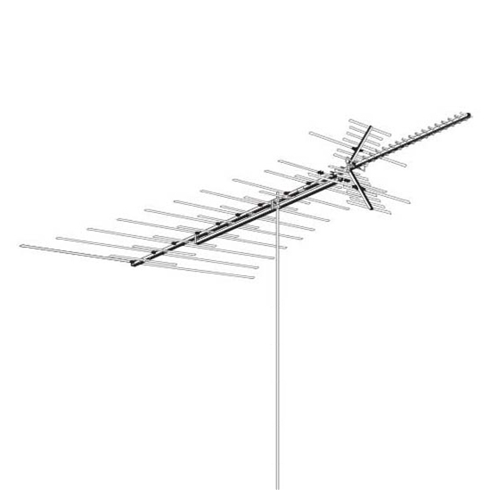 AntennaCraft HD1800 Heavy Duty VHF / UHF / FM Antenna Outdoor 69 Element Off-Air Local TV High Definition Digital Signal HDTV Television Aerial, BLUE ZONE, Part # HD-1800 | With 50' FT Coax Cable | Refurbished Item