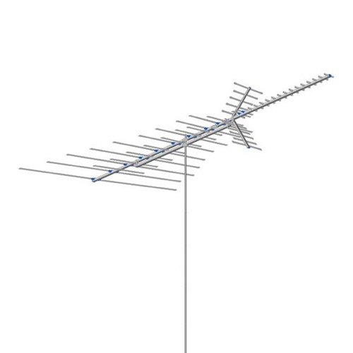 AntennaCraft CCS1843 TV Antenna VHF / UHF / FM 54 Element Extreme Fringe Outdoor Television Aerial for Off-Air Local High Definition Digital Signal HDTV Reception 50 FT RG6 Coax With Gold F Connectors, BLUE ZONE, Part # CCS-1843