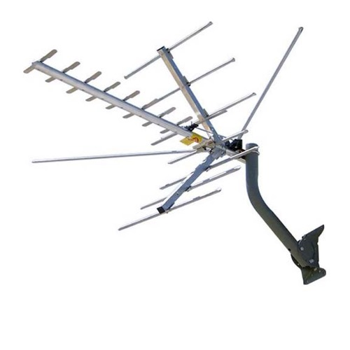 Channel Master 2016 Digital Advantage TV Antenna Outdoor Directional Yagi HDTV VHF High Band UHF 22 Element 45 Mile Mid-Range Off-Air Local Digital Signal Channel Television Aerial, RED ZONE