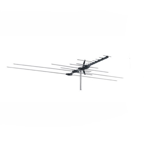 Masters ANT2280 Heavy Duty Commercial Grade UHF VHF HDTV Outdoor Antenna Extreme Wind Load Design AM FM Digital Directional 15 Element Ch 2 - 69 Aerial 50 FT RG6 Coax With Gold F Connectors, BLUE ZONE, Part # ANT-2280
