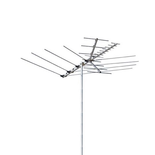 Channel Master 3016 Suburban Outdoor Roof Top TV Antenna VHF / UHF / FM CM3016 24 Element Off-Air HDTV Local Television Aerial 50 FT RG6 Coax With Gold F Connectors, LIGHT GREEN ZONE, Part # CM-3016