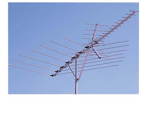 Channel Master 3019 VHF / UHF / FM HD TV Antenna Outdoor Roof Top HDTV CM3019 38 Element Near Fringe Off-Air Local TV Signal Television Aerial, BLUE ZONE, Part # CM-3019 | With 50' FT Coax Cable