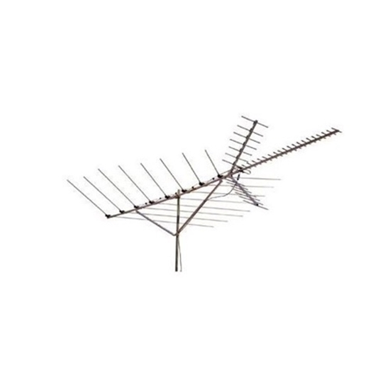 Channel Master CM3020 Deep Fringe Outdoor HDTV Antennea Advantage UHF VHF FM Digital TV Antenna Long Range 50 Element Roof Top TV Off-Air Signal Aerial, BLUE ZONE, Part # CM-3020 | With 50' FT RG6 Coax Cable with Gold F Connectors