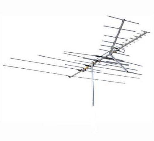 Channel Master Ultra-Hi Crossfire VHF / UHF / FM 3677 HD Antenna HDTV CM-3677 35 Element Fringe Off-Air Local Signal Aerial, BLUE ZONE, Part # CM3677 | With 50' FT Coax Cable