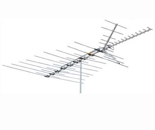 Channel Master 3678 Ultra-Hi Crossfire Deep Fringe VHF / UHF / FM HD TV Antenna Cross Fire Antenna CM-3678 53 Element Off-Air Local Signal Aerial, BLUE ZONE, Part # CM3678 | With 50' FT Coax Cable