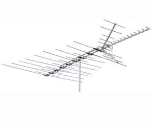 Channel Master 3678 Ultra-Hi Crossfire TV Antenna Deep Fringe Cross Fire VHF / UHF / FM HD TV Antenna CM3678 53 Element Off-Air Local Signal Aerial, BLUE ZONE, Part # CM-3678 | With 50' FT Coax Cable