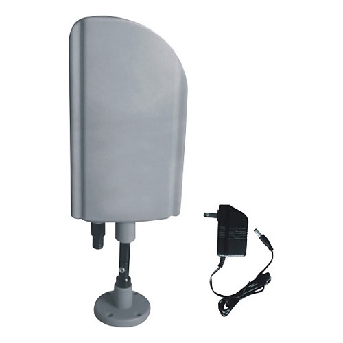 DIGIWAVE ANT-4008 HDTV Digital Indoor Outdoor Mast Mountable TV Antenna with Smart SMD Amplifier 20 dB Gain 30 dB UHF Power Supply Flat Panel Array UHF Low Profile HDTV 14-69 with In-Line Power Injector ATSC Local TV Aerial, Part # ANT4008