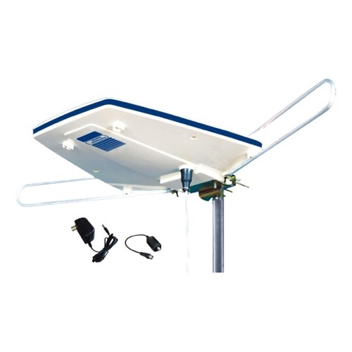 Eagle ANT5001 RV Outdoor TV Antenna HDTV Amplified 30dB Gain UHF/VHF Portable Mobile RV Low Profile Aerial with Outdoor Protective Housing for Digital Television