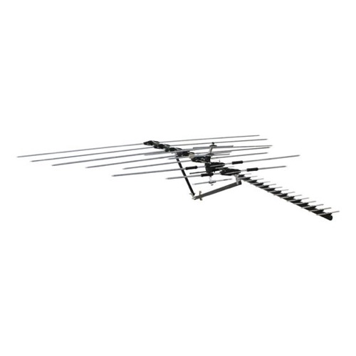 Channel Master CM-5020 Deep Fringe Masterpiece Long Range 100 Mile TV Antenna Series FM UHF VHF HDTV 28 Element Digital Outdoor 50 FT RG6 Coax With Gold F Connectors| BLUE ZONE