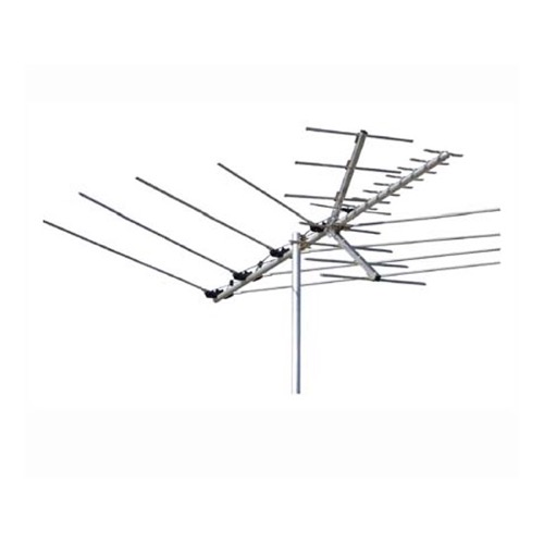 Channel Master 5646 VHF/UHF/FM HD TV Antenna Special Market Suburban Fringe Outdoor Roof Top CM5646 Off-Air HD TV Local Television Aerial, RED ZONE, Part # CM-5646 | With 50' FT Coax Cable