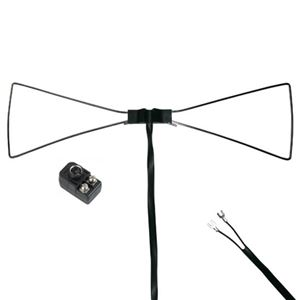 Steren UHF Bow Tie TV Antenna Indoor Outline HDTV Only Enhances Inside Reception Chrome Plated Brass Flat 300 Ohm Cable with Spade Lug Connectors and 300 - 75 Ohm Balun, Part # Petra 700-110