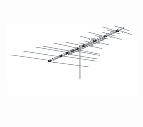 VHF FM HDTV Long Range Outdoor Antenna Digital Heavy Duty Terrestrial AntennaCraft 3BG22 Permacolor 22 Element Off-Air Local High Definition Signal HD Television Aerial, BLUE ZONE, Part # 3BG-22 | With 50' FT Coax Cable
