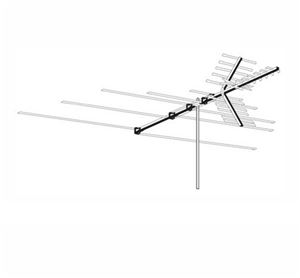 HDTV Digital VHF UHF FM Antenna Heavy Duty Terrestrial Outdoor Off-Air AntennaCraft 4BG26 Permacolor Local High Definition HD Signal HDTV Television Aerial, RED ZONE, Part # 4BG-26 | With 50' FT Coax Cable